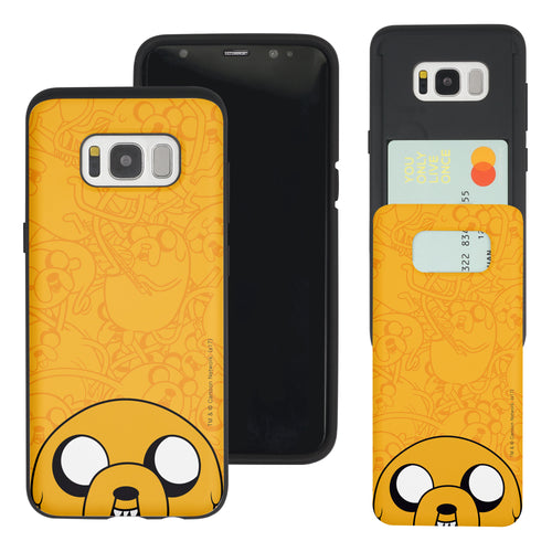 Galaxy S8 Plus Case Adventure Time Slim Slider Card Slot Dual Layer Holder Bumper Cover - Pattern Jake Big