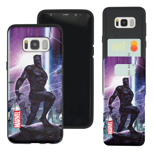 Galaxy S7 Edge Case Marvel Avengers Slim Slider Card Slot Dual Layer Holder Bumper Cover - Black Panther Stand