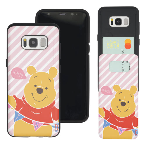 Galaxy S8 Case (5.8inch) Disney Pooh Slim Slider Card Slot Dual Layer Holder Bumper Cover - Stripe Pooh Happy