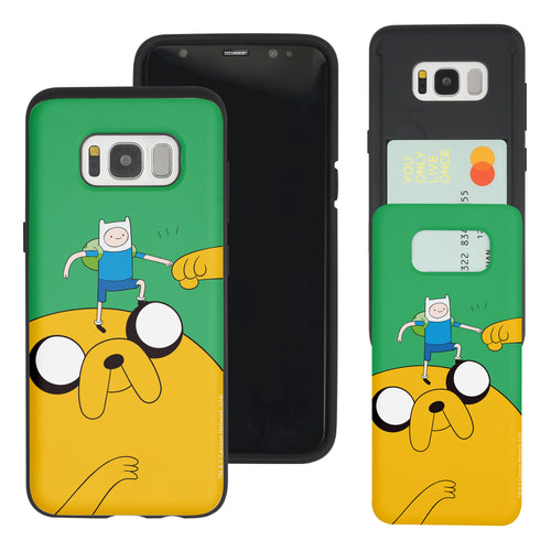 Galaxy S8 Plus Case Adventure Time Slim Slider Card Slot Dual Layer Holder Bumper Cover - Cuty Jake Big