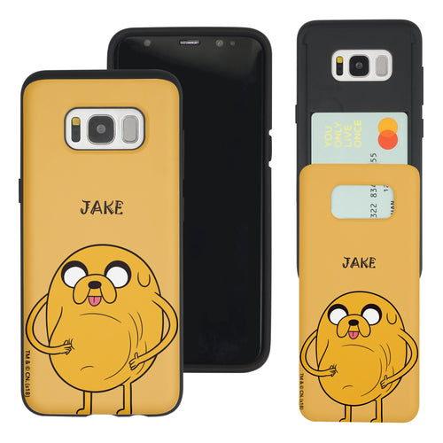 Galaxy S8 Plus Case Adventure Time Slim Slider Card Slot Dual Layer Holder Bumper Cover - Lovely Jake