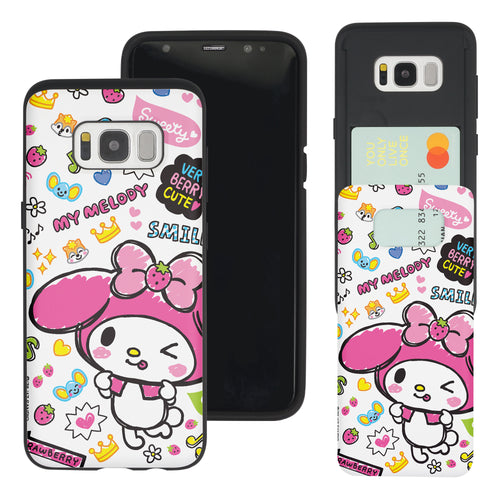Galaxy S8 Case (5.8inch) Sanrio Slim Slider Card Slot Dual Layer Holder Bumper Cover - Fun My Melody