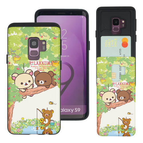 Galaxy S9 Case (5.8inch) Rilakkuma Slim Slider Card Slot Dual Layer Holder Bumper Cover - Rilakkuma Forest