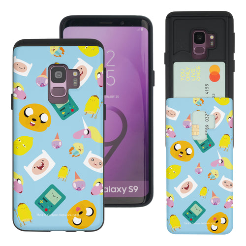 Galaxy S9 Plus Case Adventure Time Slim Slider Card Slot Dual Layer Holder Bumper Cover - Cuty Pattern Blue