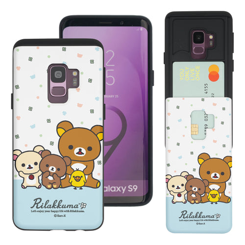 Galaxy S9 Case (5.8inch) Rilakkuma Slim Slider Card Slot Dual Layer Holder Bumper Cover - Rilakkuma Friends