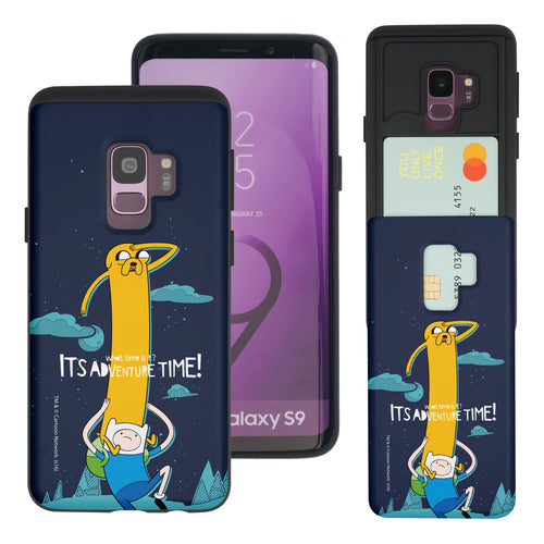 Galaxy S9 Plus Case Adventure Time Slim Slider Card Slot Dual Layer Holder Bumper Cover - Cuty Jake Long