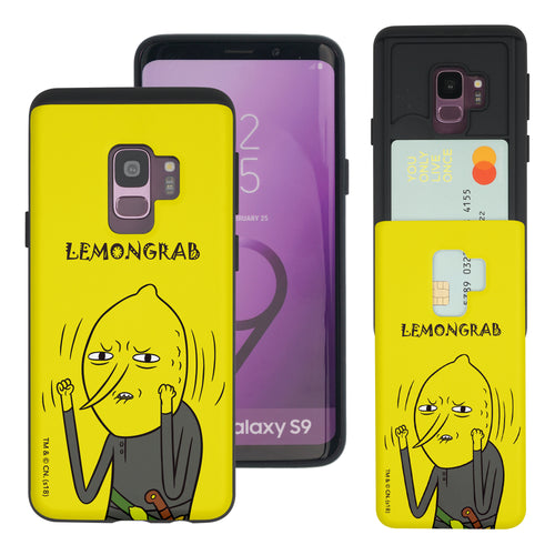 Galaxy S9 Plus Case Adventure Time Slim Slider Card Slot Dual Layer Holder Bumper Cover - Lovely Lemongrab