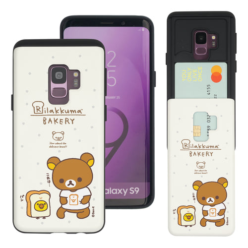 Galaxy S9 Case (5.8inch) Rilakkuma Slim Slider Card Slot Dual Layer Holder Bumper Cover - Rilakkuma Bread