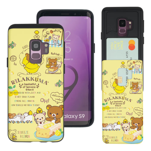 Galaxy S9 Case (5.8inch) Rilakkuma Slim Slider Card Slot Dual Layer Holder Bumper Cover - Rilakkuma Cooking