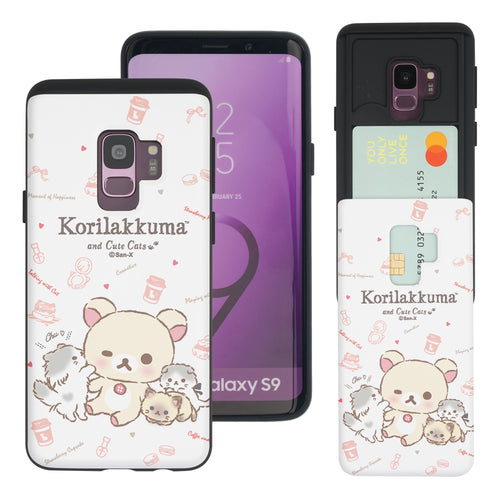 Galaxy S9 Case (5.8inch) Rilakkuma Slim Slider Card Slot Dual Layer Holder Bumper Cover - Korilakkuma Cat