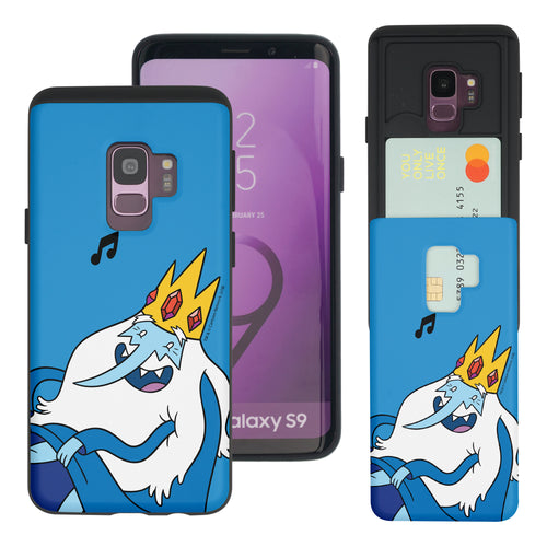 Galaxy S9 Plus Case Adventure Time Slim Slider Card Slot Dual Layer Holder Bumper Cover - Vivid Ice King