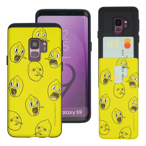Galaxy S9 Plus Case Adventure Time Slim Slider Card Slot Dual Layer Holder Bumper Cover - Pattern Lemongrab