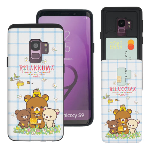 Galaxy S9 Plus Case Rilakkuma Slim Slider Card Slot Dual Layer Holder Bumper Cover - Rilakkuma Honey