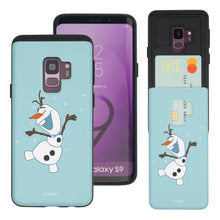 Load image into Gallery viewer, Galaxy S9 Plus Case Disney Frozen Dual Layer Card Slide Slot Wallet Bumper Cover - Olaf Dance