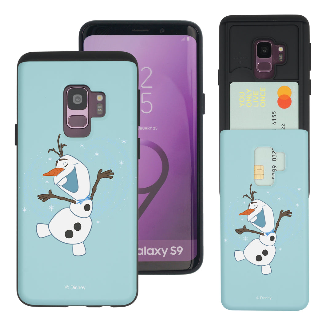Galaxy S9 Plus Case Disney Frozen Dual Layer Card Slide Slot Wallet Bumper Cover - Olaf Dance