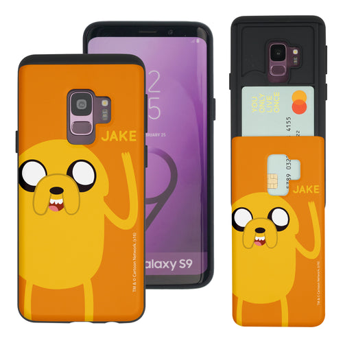 Galaxy S9 Plus Case Adventure Time Slim Slider Card Slot Dual Layer Holder Bumper Cover - Cuty Jake