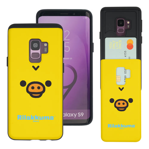 Galaxy S9 Case (5.8inch) Rilakkuma Slim Slider Card Slot Dual Layer Holder Bumper Cover - Face Kiiroitori
