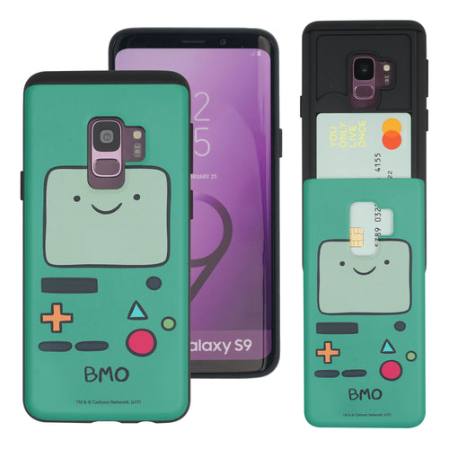 Galaxy S9 Plus Case Adventure Time Slim Slider Card Slot Dual Layer Holder Bumper Cover - Beemo (BMO)