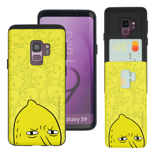 Galaxy S9 Plus Case Adventure Time Slim Slider Card Slot Dual Layer Holder Bumper Cover - Pattern Lemongrab Big