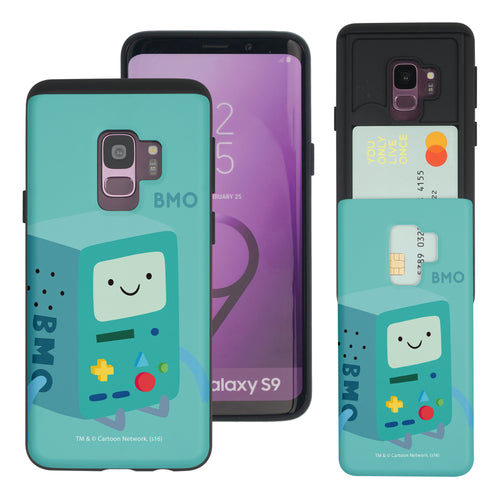 Galaxy S9 Plus Case Adventure Time Slim Slider Card Slot Dual Layer Holder Bumper Cover - Cuty BMO