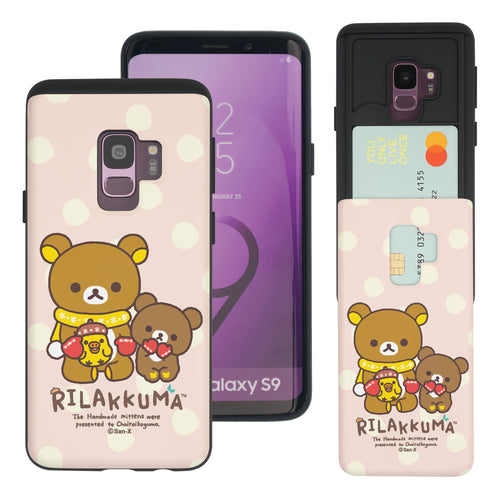 Galaxy S9 Plus Case Rilakkuma Slim Slider Card Slot Dual Layer Holder Bumper Cover - Chairoikoguma Sit
