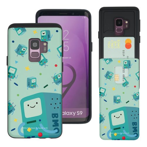 Galaxy S9 Plus Case Adventure Time Slim Slider Card Slot Dual Layer Holder Bumper Cover - Cuty Pattern BMO