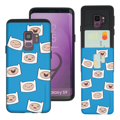 Galaxy S9 Plus Case Adventure Time Slim Slider Card Slot Dual Layer Holder Bumper Cover - Pattern Finn