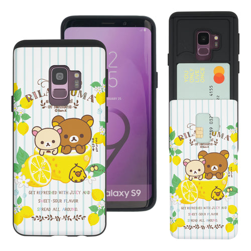 Galaxy S9 Case (5.8inch) Rilakkuma Slim Slider Card Slot Dual Layer Holder Bumper Cover - Rilakkuma Lemon