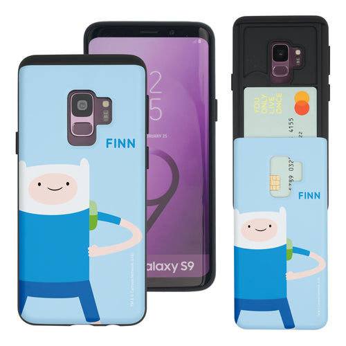 Galaxy S9 Plus Case Adventure Time Slim Slider Card Slot Dual Layer Holder Bumper Cover - Cuty Finn