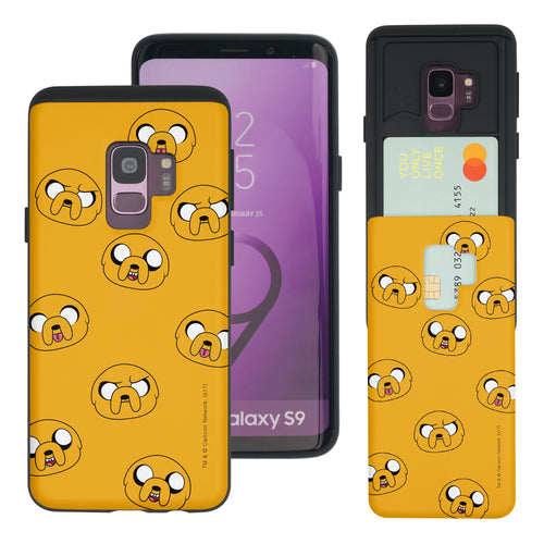 Galaxy S9 Plus Case Adventure Time Slim Slider Card Slot Dual Layer Holder Bumper Cover - Pattern Jake