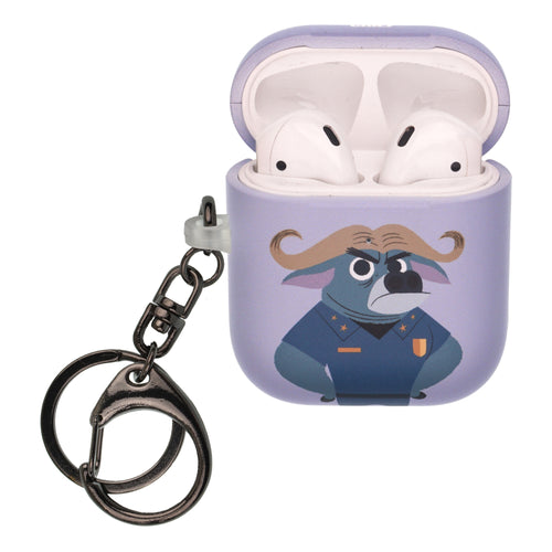 Disney AirPods Case Key Ring Keychain Key Holder Hard PC Shell Strap Hole Cover [Front LED Visible] - Zootopia Chief