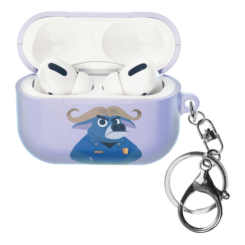 Disney AirPods Pro Case Key Ring Keychain Key Holder Hard PC Shell Strap Hole Cover - Zootopia Chief