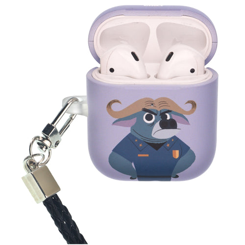 Disney AirPods Case Neck Lanyard Protective Hard PC Shell Strap Hole Cover - Zootopia Chief