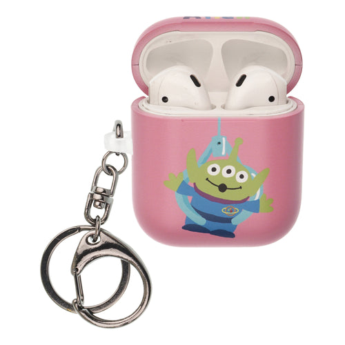 Toy Story 4 AirPods Case Key Ring Keychain Key Holder Hard PC Shell Strap Hole Cover [Front LED Visible] - Cute Alien