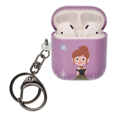 Disney Frozen AirPods Case Key Ring Keychain Key Holder Hard PC Shell Strap Hole Cover [Front LED Visible] - Cute Anna