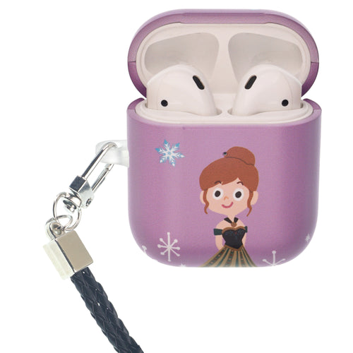 Disney Frozen AirPods Case Neck Lanyard Protective Hard PC Shell Strap Hole Cover - Cute Anna