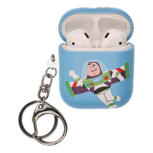 Toy Story 4 AirPods Case Key Ring Keychain Key Holder Hard PC Shell Strap Hole Cover [Front LED Visible] - Cute Buzz