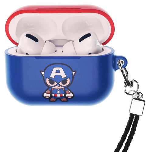 Marvel Avengers AirPods Pro Case Neck Lanyard Hard PC Shell Strap Hole Cover - Cute Captain America