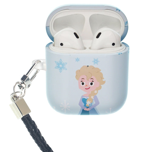 Disney Frozen AirPods Case Neck Lanyard Protective Hard PC Shell Strap Hole Cover - Cute Elsa