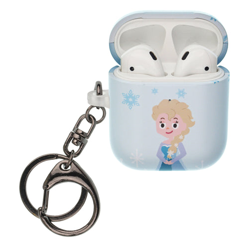 Disney Frozen AirPods Case Key Ring Keychain Key Holder Hard PC Shell Strap Hole Cover [Front LED Visible] - Cute Elsa