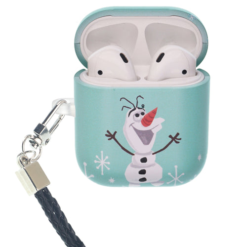 Disney Frozen AirPods Case Neck Lanyard Protective Hard PC Shell Strap Hole Cover - Cute Olaf