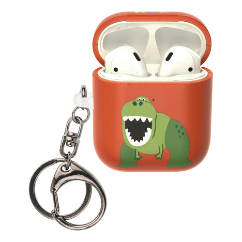 Toy Story 4 AirPods Case Key Ring Keychain Key Holder Hard PC Shell Strap Hole Cover [Front LED Visible] - Cute Rex