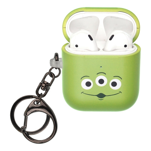 Disney AirPods Case Key Ring Keychain Key Holder Hard PC Shell Strap Hole Cover [Front LED Visible] - Face Aliens