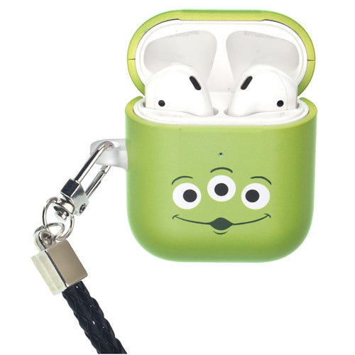 Disney AirPods Case Neck Lanyard Protective Hard PC Shell Strap Hole Cover - Face Aliens