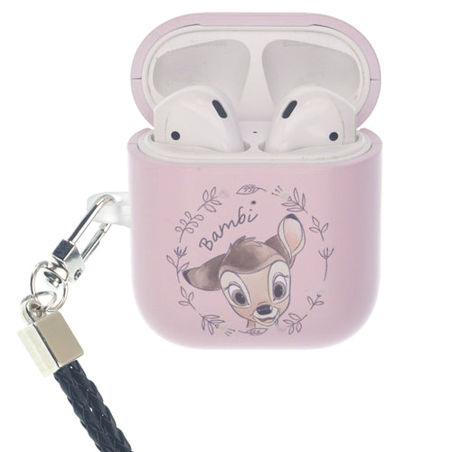 Disney AirPods Case Neck Lanyard Hard PC Shell Strap Hole Cover - Face Bambi