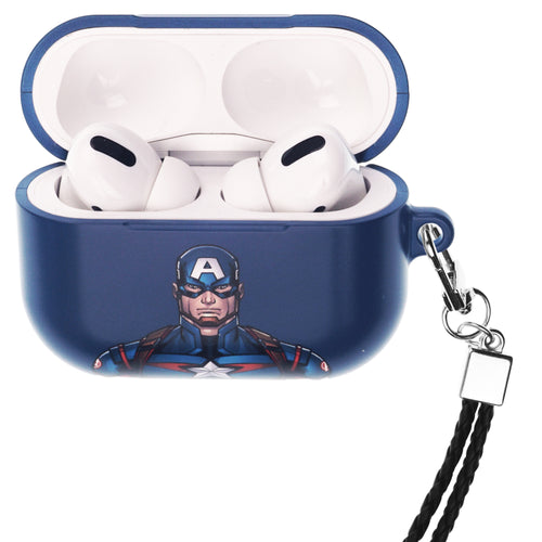 Marvel Avengers AirPods Pro Case Neck Lanyard Hard PC Shell Strap Hole Cover - Face Captain America
