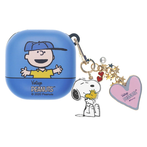 Peanuts Galaxy Buds Live Case (2020) Snoopy Key Ring Keychain Key Holder Hard PC Shell Cover - Face Charlie Brown