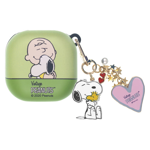 Peanuts Galaxy Buds Live Case (2020) Snoopy Key Ring Keychain Key Holder Hard PC Shell Cover - Face Charlie Brown & Snoopy