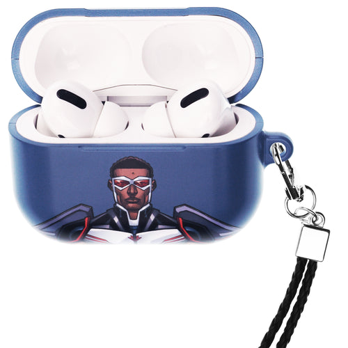 Marvel Avengers AirPods Pro Case Neck Lanyard Hard PC Shell Strap Hole Cover - Face Falcon