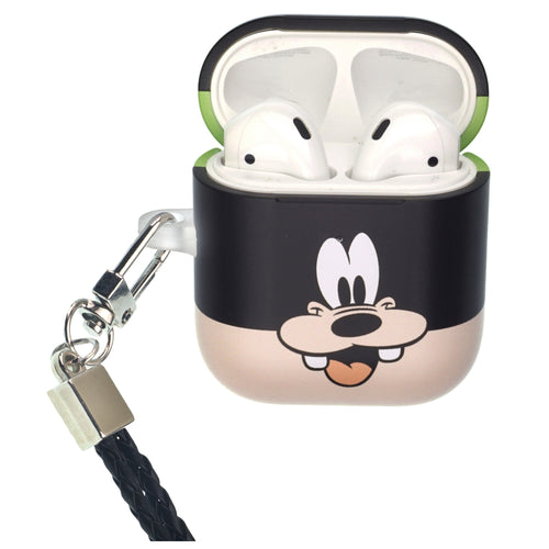 Disney Goofy AirPods Case Neck Lanyard Protective Hard PC Shell Strap Hole Cover - Face Goofy